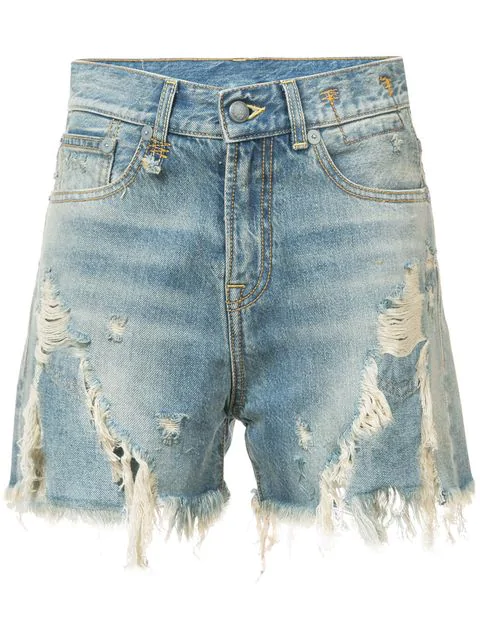 R13 Shredded Slouch Distressed Denim Shorts In Blue