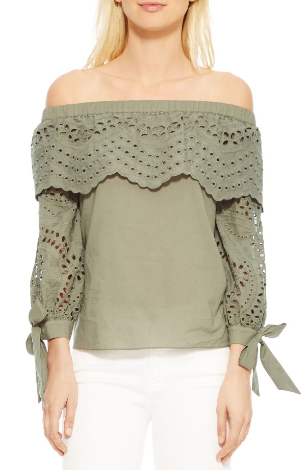 c694a367c0e93 Parker Mandy Off-The-Shoulder Eyelet Cotton Blouse In Green