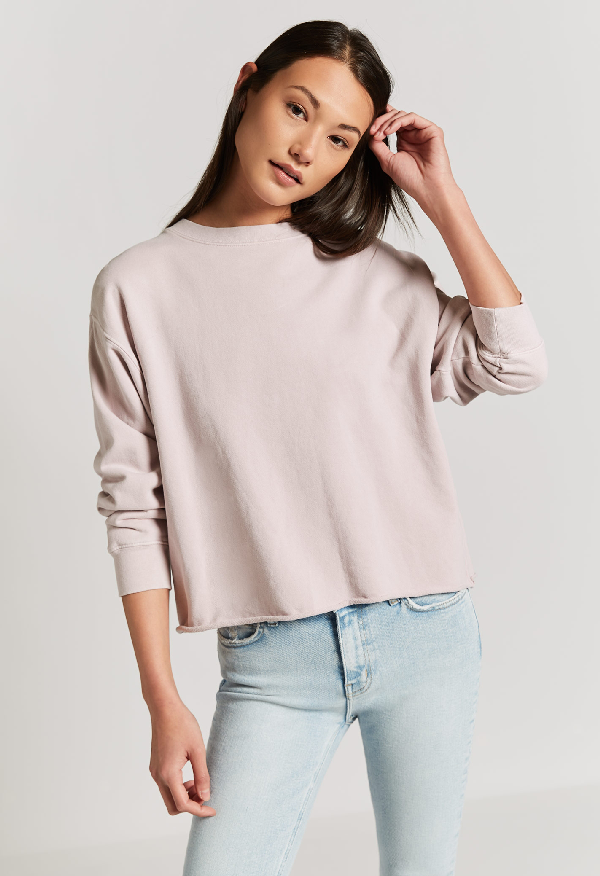 Current Elliott The Slouchy Crop Sweatshirt In Burnished Lilac
