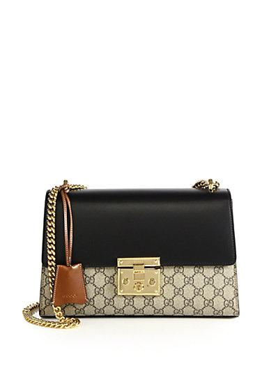 ef8cf4cf Gucci Linea C Gg Supreme Lock Shoulder Bag, Black/Brown | ModeSens