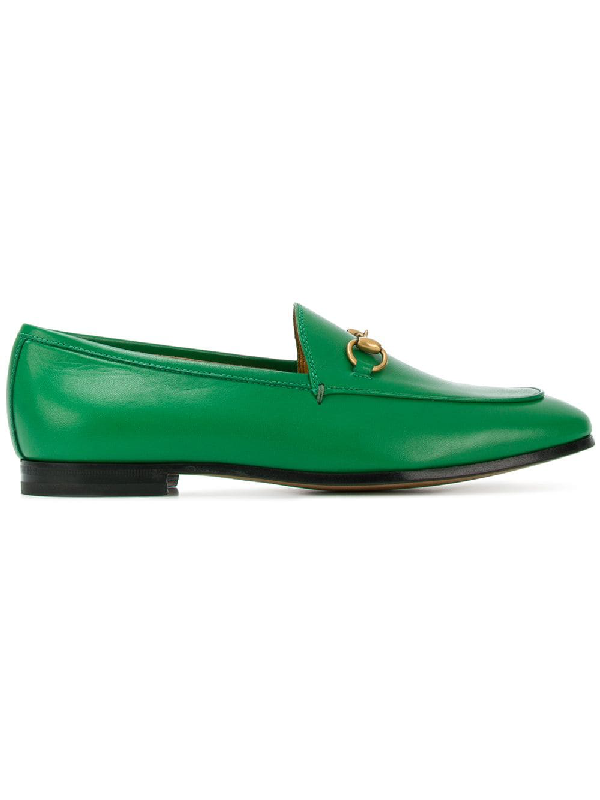 Gucci Jordaan Horsebit-Detailed Leather Loafers In Green