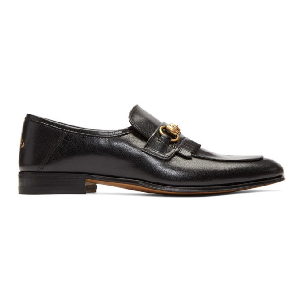 2182d3d31a8 Gucci Harbor Horsebit Fringed Leather Loafers - Black