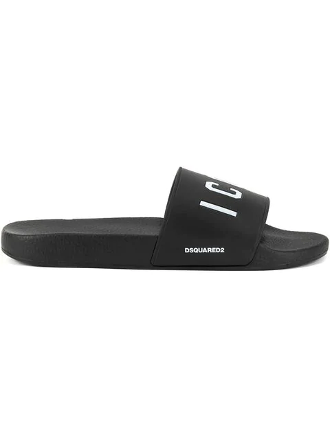 Dsquared2 Men's Logo Rubber Slide Sandals, Black/white In Black ,white