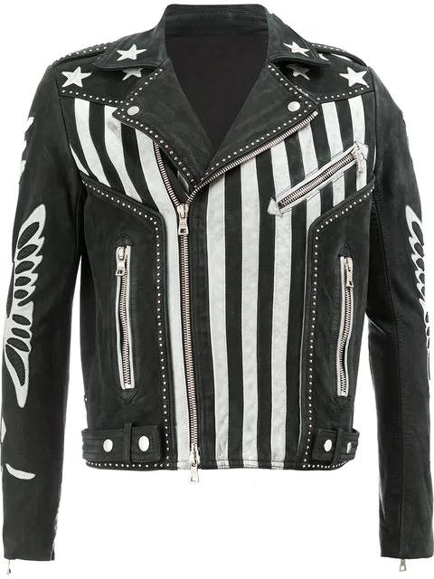 Balmain Embellished Nubuck Biker Jacket In Black