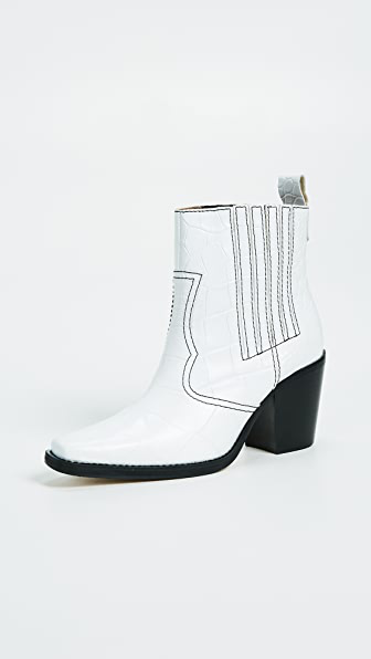 Ganni Western Croc-embossed Leather Heeled Ankle Boots In White