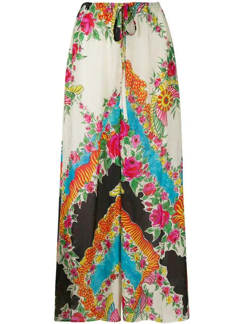 Gucci Floral-Print Satin-Jacquard Wide-Leg Pants In Multicolour