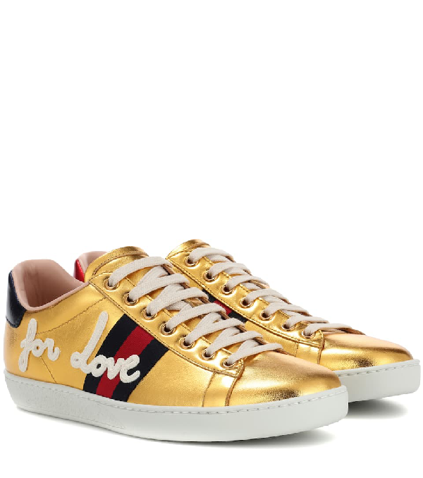 477b13969 Gucci New Ace Blind For Love Metallic Trainer In 8070 | ModeSens