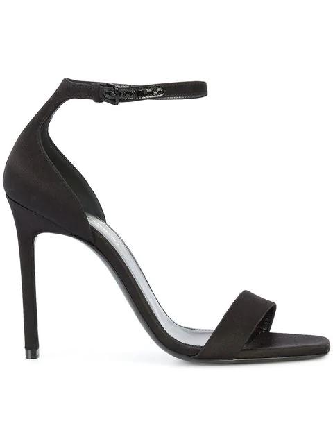 Saint Laurent 110mm Jane Smooth Leather Sandals In Black