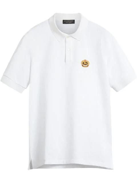 195adfe7 Burberry Embroidered Cotton-PiquÉ Polo Shirt - White | ModeSens