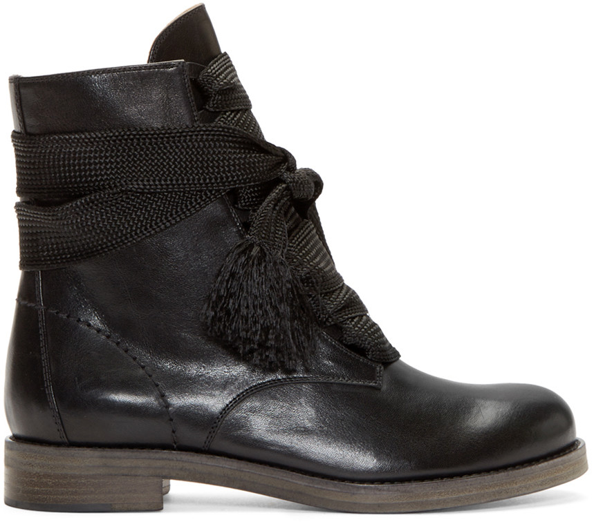 6a355b1e Black Leather Lace-Up Ankle Boots