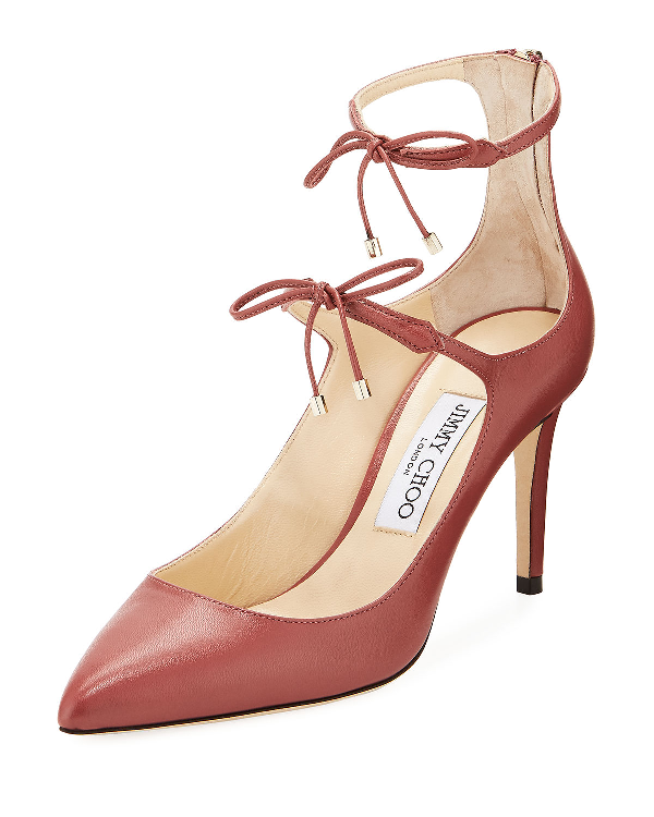 db9e111a724 Jimmy Choo Sage 85 Vintage Rose Kid Leather Pumps In Red | ModeSens
