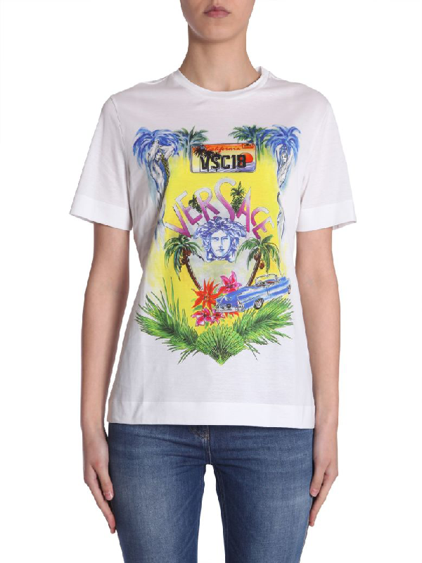 2a745fe5 Versace White Cotton T-Shirt With Beverly Palm Print   ModeSens