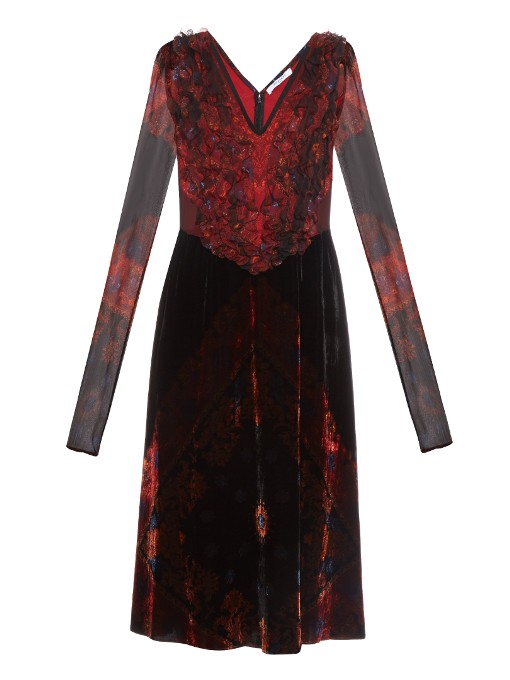 Givenchy Woman Bandana Printed Velvet Dress With Chiffon Crimson In Burgundy With Multicoloured Paisley Print