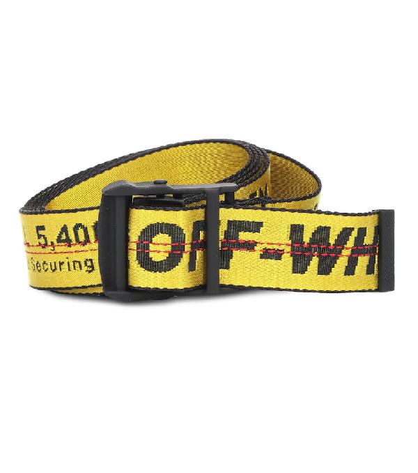 Off-white Industrial Mini Yellow Logo-jacquard Canvas Belt
