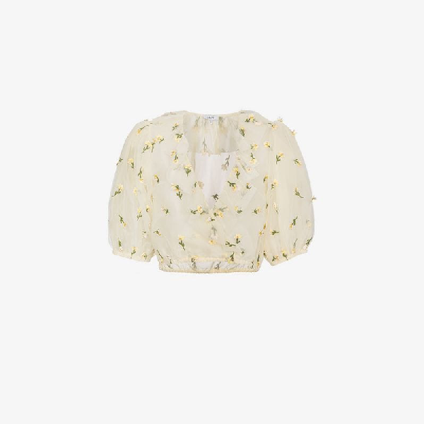 9c3c34fc Ganni Bliss Cropped Embellished Tulle Top In Cream   ModeSens