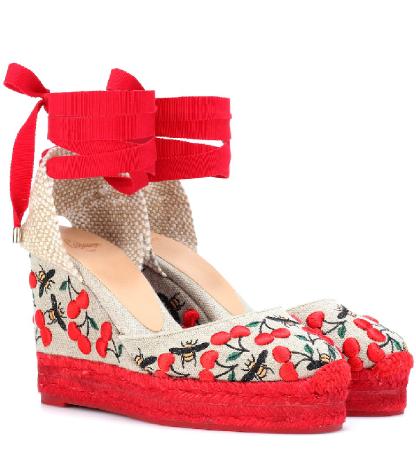 5d84061aa43 CastaÑEr Women s Carina Merlion Park Embroidered Ankle Tie Wedge Espadrilles  In Red