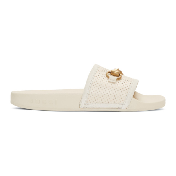 c450db38939 Gucci Pursuit Perforated Leather Slide Sandals - White In 9522 ...