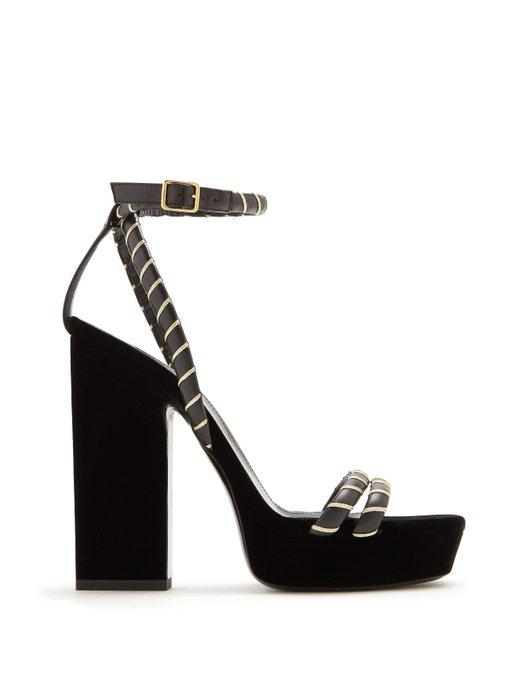 77364fdd760 Saint Laurent Black/Gold Debbie Platform Heel Sandal | ModeSens