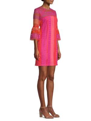 bcf723117e0 Trina Turk Cambria Lace Bell-Sleeve Mini Dress In Multi