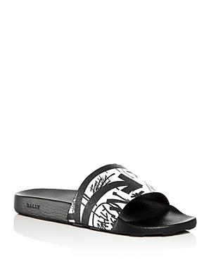 736c8153a Bally Slanter Graffiti Pool Rubber Slides In Black/White   ModeSens