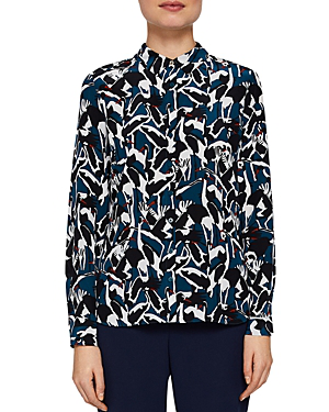 6d4837c1a77f Ted Baker Colour By Numbers Elbera Crane-Print Silk Shirt In Teal ...