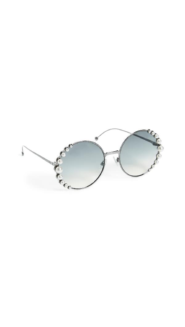 749e87c731a Fendi 58Mm Round Sunglasses With Pearls In Dark Ruthen Dark Grey Gradient