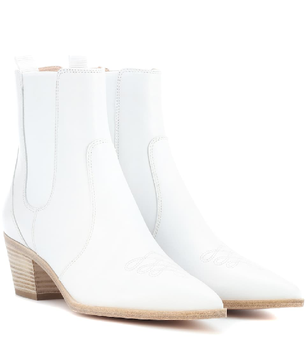 322fcf3fa Gianvito Rossi Embroidered Leather Western Ankle Boots In White ...
