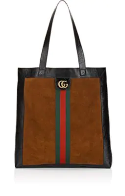 22bfba15467 Gucci Ophidia Medium Patent Leather-Trimmed Suede Tote In Tan