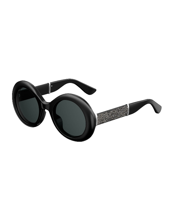 3fb2e66c0ee4 Jimmy Choo Wendy Black Round Framed Sunglasses With Lurex Detailing In Eir  Grey Blue