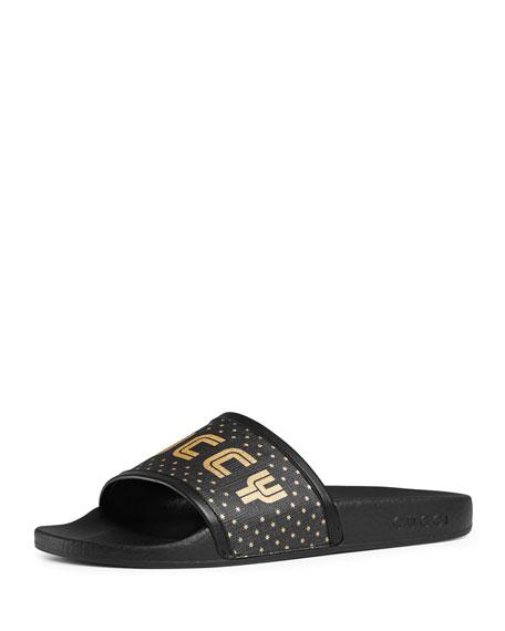 443ae3b5b10 Gucci Leather-Trimmed Logo-Print Canvas Slides In Black