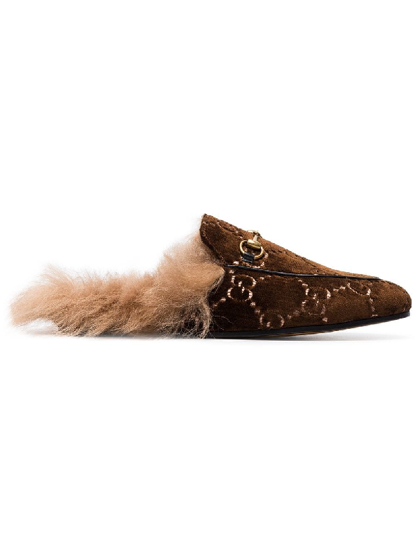 3895be512 Gucci Princetown Horsebit-Detailed Shearling-Lined Logo-Jacquard Slippers  In Brown