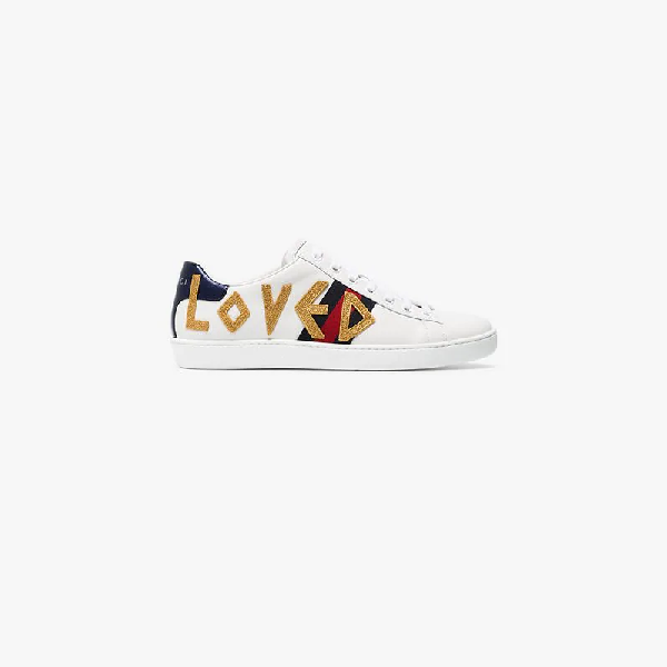 d54dca46874 Gucci Ladies New Ace Embroidered Leather Trainers In White