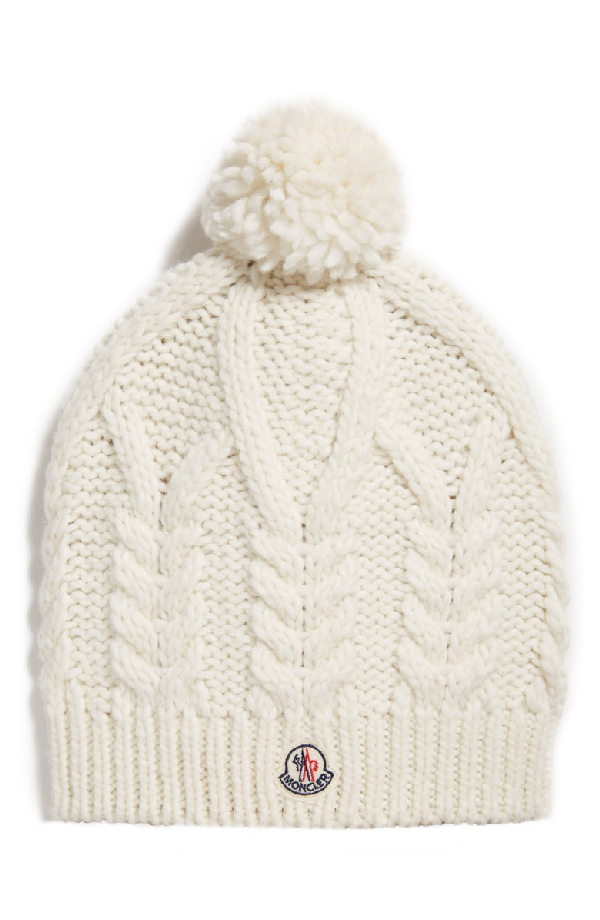 32d3b02059009 Moncler Pompom-Embellished Cable-Knit Beanie In White