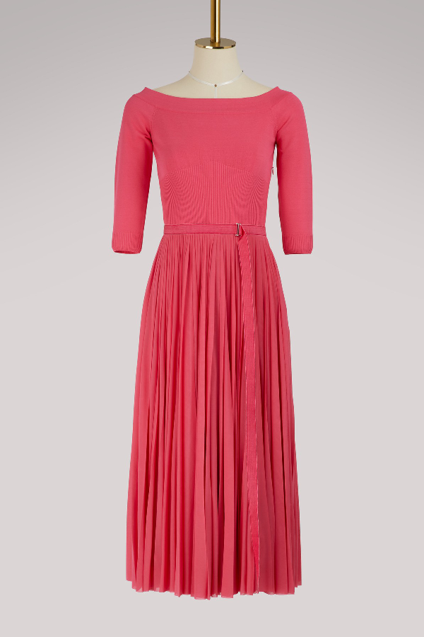 28071631fe48 Alexander Mcqueen Off-The-Shoulder Belted Plisse Pleated Tea-Length Dress  In Pink