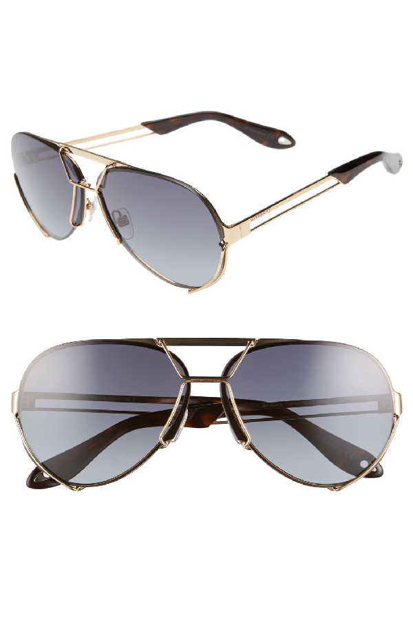Givenchy Interchangeable Aviator Sunglasses, Gold In Gold/ Grey