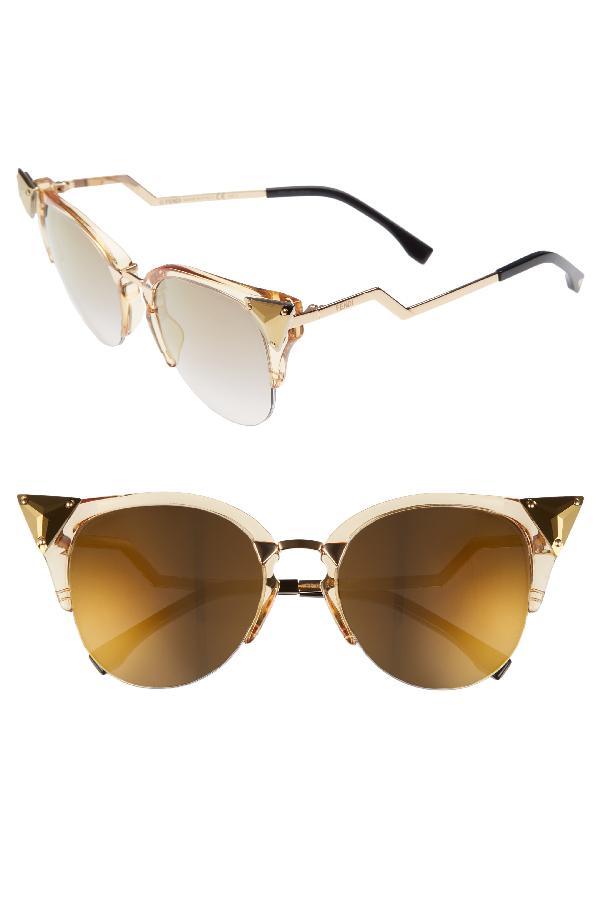9649d660c091b Fendi Crystal 52Mm Tipped Cat Eye Sunglasses - Yellow  Gold In Grey-Black
