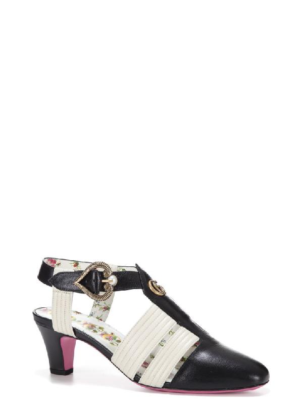 37825bd9d40 Gucci Women s 497485C9D101114 White Black Leather Sandals In 1114 Black  White