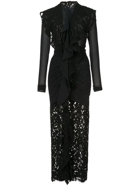 Proenza Schouler Ruffled Cotton-Blend Chiffon And Lace Midi Dress In Black