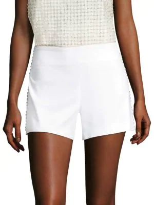 0b6cfe91435f Alice And Olivia Sherri Embellished Back-Zip Shorts In White