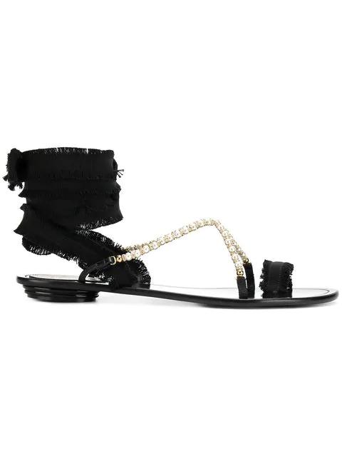 c30faad1503 RenÉ Caovilla Rene Caovilla Flat Sandals Shoes Women Rene Caovilla In Black