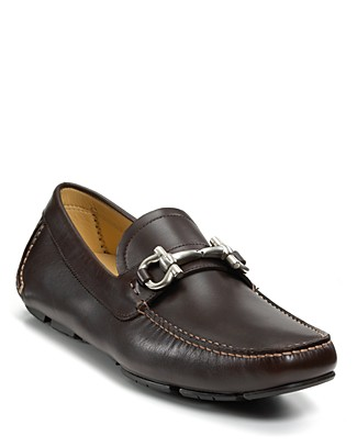 Salvatore Ferragamo Men's Parigi Double Gancini Bit Suede Loafers In Hickory