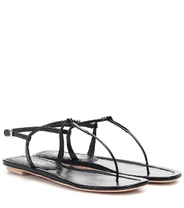 Prada Black Patent Leather Thong Sandals