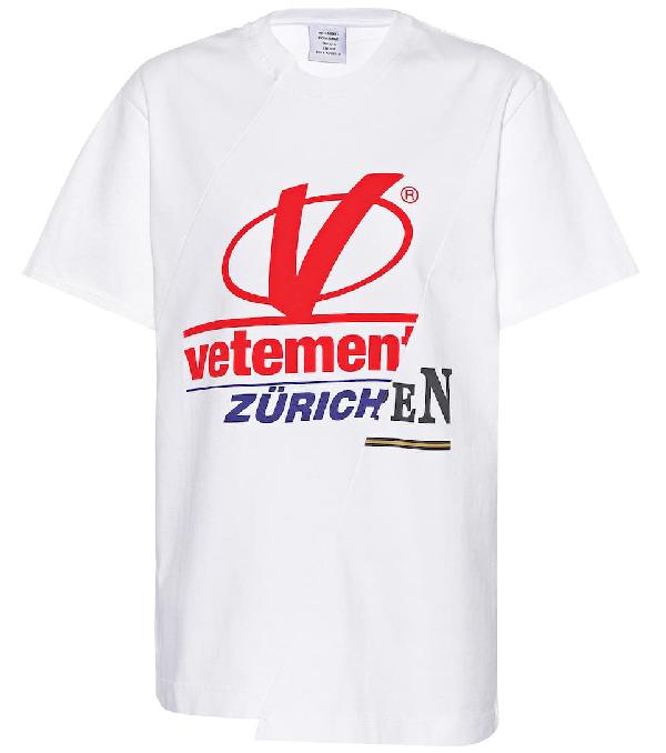 b45b3c7e7d9 Vetements Patchwork Logo Printed Jersey T-Shirt In White | ModeSens