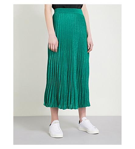 018bb9c68c Maje Pleated Metallic Knitted Midi Skirt In Green | ModeSens