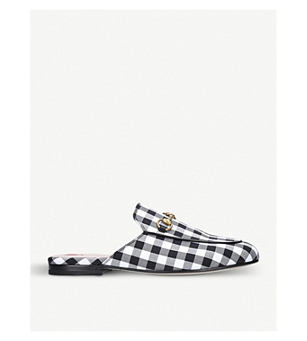 49f8fb8d2 Gucci Black/White Gingham Princetown Mules | ModeSens