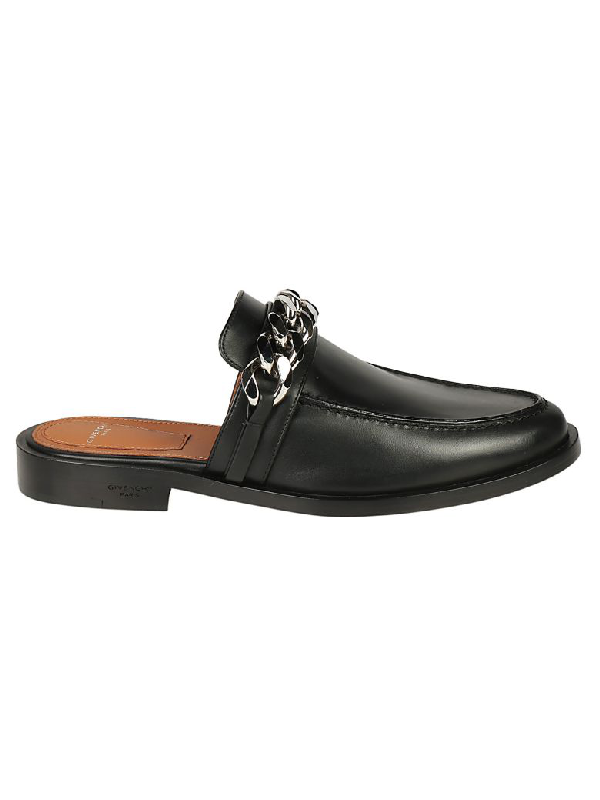 5bbcd324ffe6 Givenchy Chain Leather Loafer Mule
