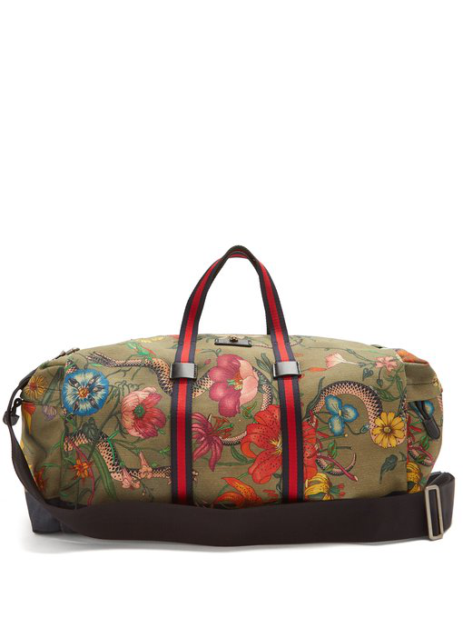 ef45bdd9b3f6 Gucci Floral-Print Web-Striped Duffle Bag In Green Pattern | ModeSens