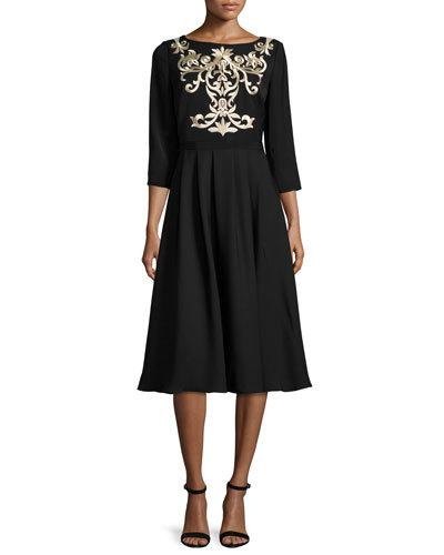 Ted Baker Shamari Embroidered-bodice Dress, Black