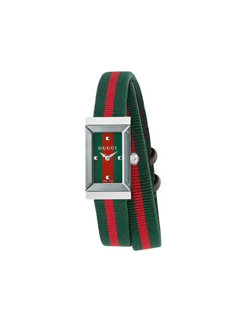 Gucci Ya147503 G-frame Fabric Strap Stainless Steel Quartz Watch In Green