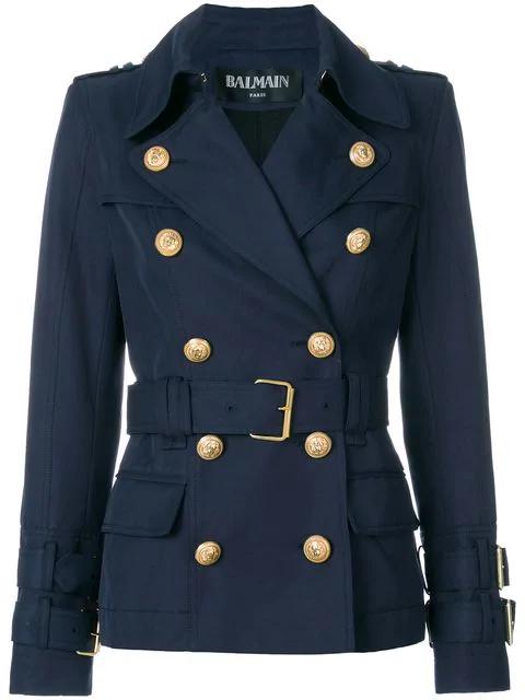 Balmain Woman Double-breasted Cotton-gabardine Jacket Navy In Blue